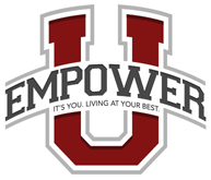 "Logo for Empower University and red U with empower written over it and under empower it says ""It's you. Living at your best."""
