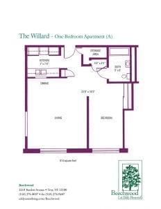 Floorplan for The Willard senior apartment at The Beechwood at Eddy Memorial retirement community