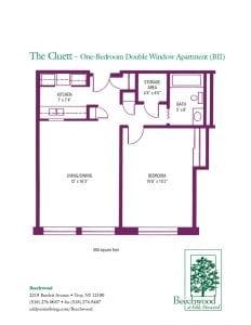 Floorplan for the Cluett BII senior apartment at The Beechwood at Eddy Memorial retirement community