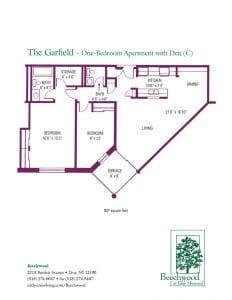 Floorplan for The Garfield senior apartment at The Beechwood at Eddy Memorial retirement community