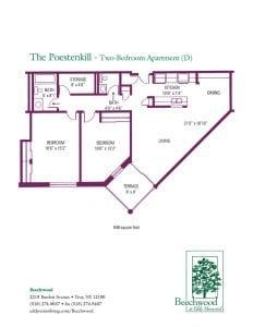 Floorplan for The Poestenkill senior apartment at The Beechwood at Eddy Memorial retirement community