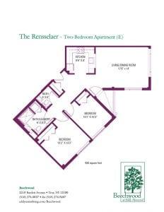 Floorplan for The Rensselaer senior apartment at The Beechwood at Eddy Memorial retirement community