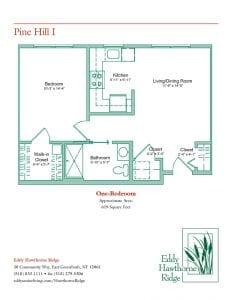 The floor plan for the Pine Hill I senior apartment at Eddy Hawthorne Ridge