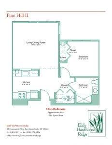The floor plan for the Pine Hill II senior apartment at Eddy Hawthorne Ridge