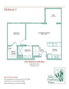 The floor plan for the Mohican I senior apartment at Eddy Hawthorne Ridge