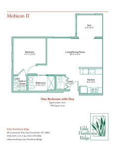 The floor plan for the Mohican II senior apartment at Eddy Hawthorne Ridge