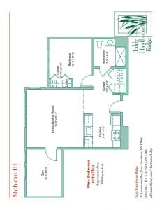 The floor plan for the Mohican III senior apartment at Eddy Hawthorne Ridge