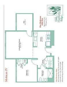 The floor plan for the Mohican IV senior apartment at Eddy Hawthorne Ridge