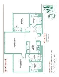 The floor plan for the Orchard senior apartment at Eddy Hawthorne Ridge