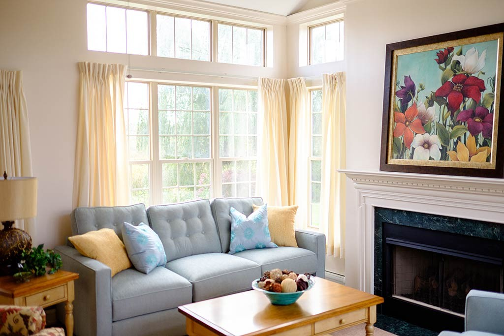 Hiland Meadows room with fireplace