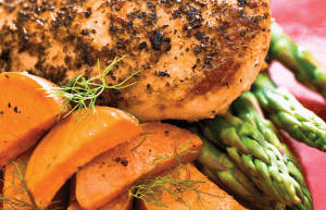 Chicken, asparagus, and carrots on a plate