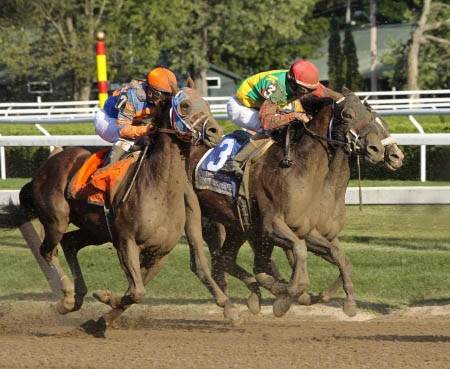 horses racing at the Saratoga Race Track