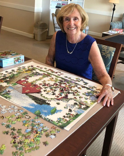 Helen doing a puzzle