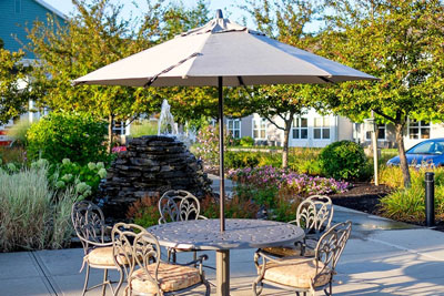 Outdoor patio with table and chairs