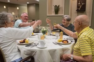 Making a toast at the dinner table